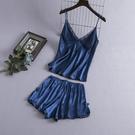 吊帶睡衣女夏季薄款性感冰絲背心短褲兩件套裝韓版寬松大碼家居服錢夫人小舖