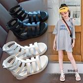女童羅馬涼鞋夏季韓版中大童兒童低幫小女孩公主童鞋【聚物優品】