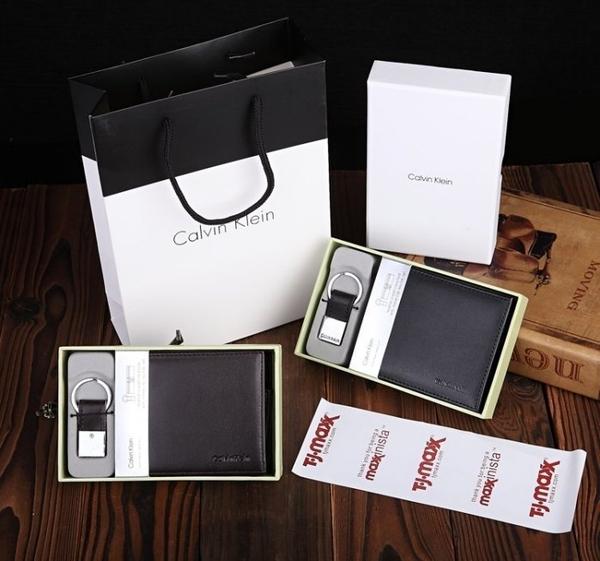 【Calvin Klein專櫃現貨】全新CK皮夾 皮包 錢包 附零錢袋+鑰匙圈禮盒+美國OUTLET購物証明/澤米