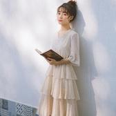 小清新超仙學生森系碎花連身裙2019流行夏天裙子小個子波點蛋糕裙