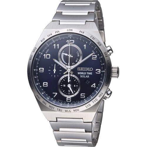 SEIKO 精工 SPIRIT 太陽能多功能計時腕錶 V195-0AE0B 藍 SBPJ023J