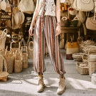 泰國旅行穿搭花褲子寬鬆不打皺闊褲腿燈籠束腿蘿卜褲雪紡沙灘褲女 黛尼時尚精品