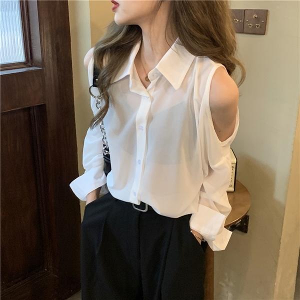 (免運)DE shop - 露肩白色防曬襯衫女士設計感小眾春裝長袖上衣時尚襯衣 - XA-6899