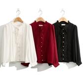 秋冬7折[H2O]復古綁帶蕾絲拼接雪紡襯衫 - 紅/黑/白色 #0635010