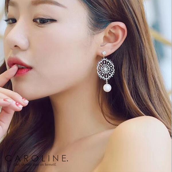 《Caroline》★韓國熱賣蕾絲花朵捕夢網珍珠耳環  甜美浪漫風格時尚流行耳環70041