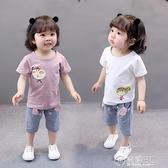 1歲女寶寶可愛卡通夏裝新款2女童短袖套裝5兒童休閒運動衣服3  聖誕節免運