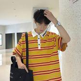 【免運】短袖T恤男polo衫ins超火的上衣襯衫領港風chic五分袖半袖男生韓風