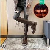 長筒靴女 過膝長靴女季新款厚底高筒顯瘦百搭棕色騎士長筒靴子 快速出貨