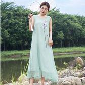 夏季新款中國風復古長裙刺繡無袖洋裝仙女長裙 nm1023 【野之旅】