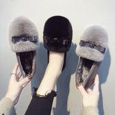 一腳蹬兔毛毛鞋女豆豆鞋秋冬季新款真皮外穿瓢鞋平底單鞋 歐亞時尚