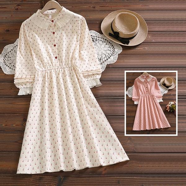 *ORead*草莓印花花邊圓領長袖連身裙(2色S~2XL)