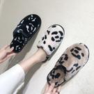 豹紋包頭拖鞋女冬室內韓版可愛少女心ins棉拖潮保暖家居毛絨毛毛