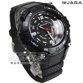 JAGA捷卡 日本機芯 粗曠帥氣石英男錶 防水手錶 夜間冷光 數字錶 AQ1166-A(黑)
