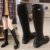 過膝靴 長靴女過膝2020秋冬季新款瘦瘦粗跟馬丁靴英倫風高筒騎士春秋單靴