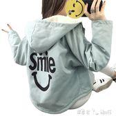 加絨加厚外套少女秋冬裝初中高中學生韓版短款羊羔毛棉衣   潔思米