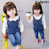 新年鉅惠 褲子女寶寶0-1-2-3歲外穿嬰兒童裝女童女寶牛仔吊帶褲