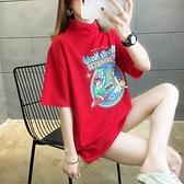 短T~棉質網紅同款短袖t恤女夏新款圓領中長學生上衣大碼女裝TCF1-02胖妞衣櫥