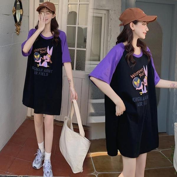 L-4XL胖妹妹大碼洋裝連身裙~大碼純棉t恤寬松百搭印花中長款連身裙3F061A衣時尚