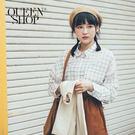 Queen Shop【01023499】柔和配色格紋長袖雪紡襯衫*現+預*