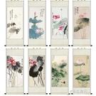 荷花蜻蜓絲綢國畫捲軸掛畫家居裝飾古色古香...