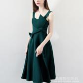 宴會小晚禮服裙女2019新款名媛生日派對連身裙洋裝綠色吊帶中長款