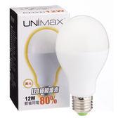 ★2件超值組★美克斯UNIMAX LED燈泡-黃光(12W)【愛買】