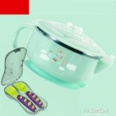 兒童餐具寶寶注水碗嬰兒碗勺套裝不銹鋼保溫吸盤輔食碗勺子防摔幼-ifashion