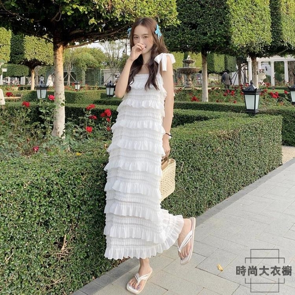 綁帶吊帶連身裙女夏季韓版寬鬆顯瘦蛋糕裙長裙洋裝【時尚大衣櫥】