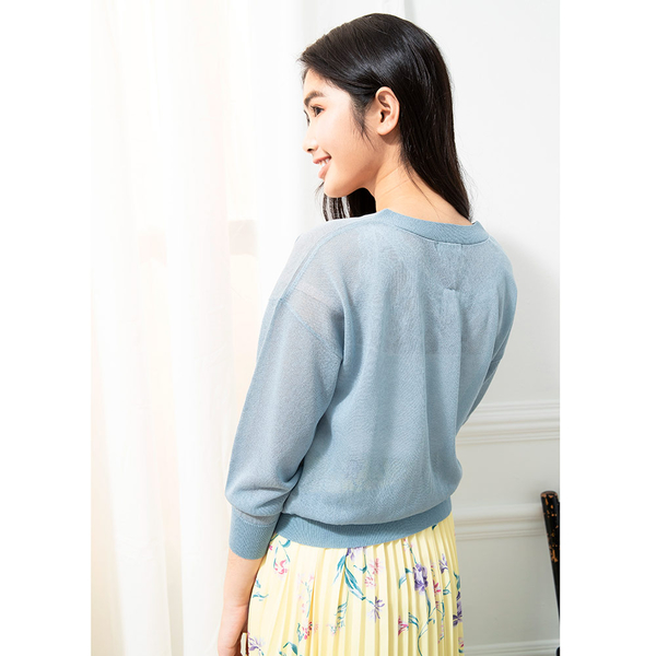 夏季販促[H2O]V領仿麻感輕透線衫外套 - 黑/白/粉/淺藍色 #0690001