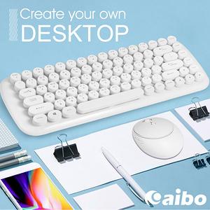 【aibo】KM12 棉花糖打字機 2.4G無線鍵盤滑鼠組人文白