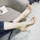 高跟鞋 涼鞋新款女夏季韓版百搭透明高跟鞋一字扣中空學生露趾羅馬鞋