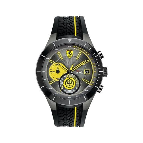 FERRARI 法拉利RedRev速度計時快感運動時尚腕錶/黃/0830342