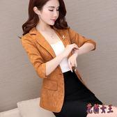 西裝外套 2019新款韓版修身女式休閒西服短款外套上衣TA563【花貓女王】