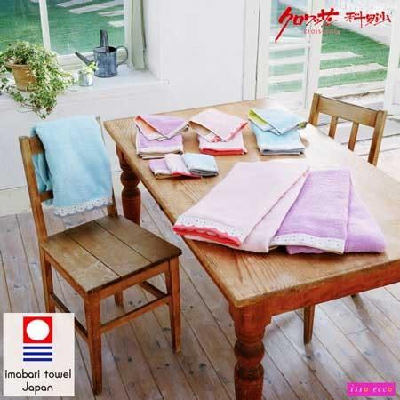 【クロワッサン科羅沙】日本ISSO ECCO今治(imabari towel)~無撚雙面色波點花邊毛巾 34*80