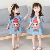 韓版女童時髦洋裝露肩公主裙小女孩牛仔裙 ZL1169『夢幻家居』