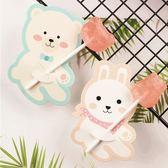 【BlueCat】情侶藍熊粉兔棒棒糖吸管裝飾卡 派對裝飾 (50入)