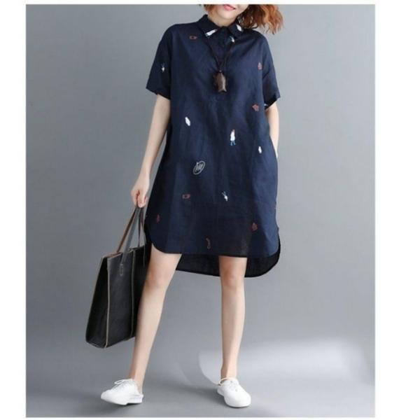 漂亮小媽咪 襯衫洋裝 【D8213】 童趣 印花 文藝 襯衫 長版洋裝 連身裙 襯衫領 孕婦裝