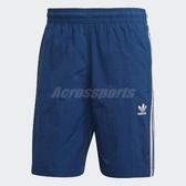 adidas 短褲 3-Stripes Swim Shorts 藍 白 男 三葉草 三條線 【PUMP306】 DV1578