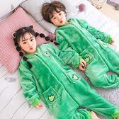 兒童睡衣 兒童連體睡衣秋冬季珊瑚絨卡通男孩女童加厚法蘭絨寶寶男童連體褲