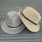 草帽 條紋 混色 拼接 爵士帽 遮陽帽 草帽【CF058】 icoca  08/03