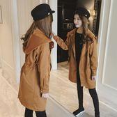 秋季外套女2018韓版新款中長款連帽收腰風衣潮長袖顯瘦薄開衫『潮流世家』