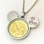 迪士尼系列金飾-黃金金幣項鍊音樂盒-天生一對-粉C