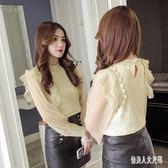 蕾絲上衣韓版時尚立領半透長袖女2019新款氣質修身上衣 qw1947『俏美人大尺碼』