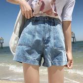 韓版牛仔短褲女夏寬松顯瘦高腰學生闊腿熱褲【韓衣舍】