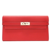 HERMES 愛馬仕 紅色牛皮凱莉長夾 T刻金釦 Kelly Classic Wallet Epsom 【BRAND OFF】