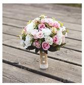 新娘手捧花結婚新款粉紅白仿真花束
