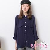 betty's貝蒂思 雪紡拼接金屬珠珠七分袖襯衫(深藍)