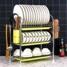 碗架瀝水架家用洗放碗碟盤子收納架廚房置物架不銹鋼色控水放碗架 NMS漾美眉韓衣