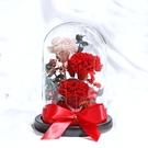 永生花康乃馨玻璃罩成品,尺寸12*20