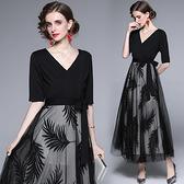 中大尺碼洋裝連身裙~宴會晚禮服黑色高貴名媛氣質主持人V領連身裙H405A莎菲娜